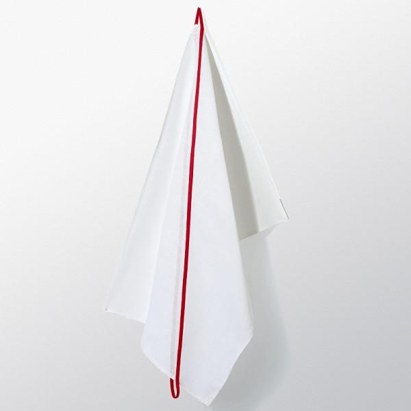 Hochwertiges Geschirrtuch Loop aus Halbleinen mit rotem diagonal verlaufendem Streifen zum Aufhängen.