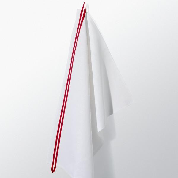 Hochwertiges Geschirrtuch Loop aus Halbleinen mit rotem Streifen zum Aufhängen.