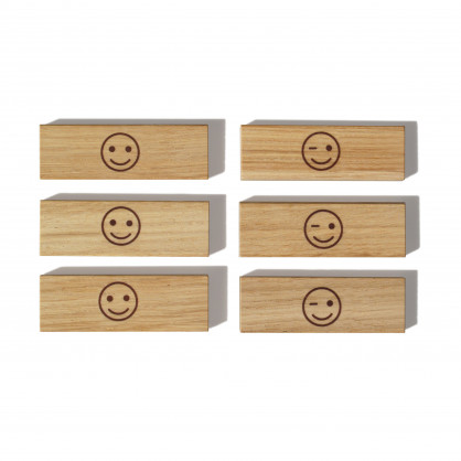 Holzmagnete aus Eiche - Modell: Smiley - side by side Design - 6er Set
