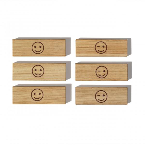 Holzmagnete aus Eiche - Modell: Smiley - side by side Design - 6er Set