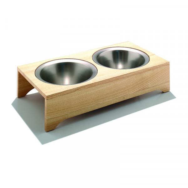 Hundenapf Spike aus massiver Esche mit zwei Edelstahlschüsseln mit je 1 Liter Füllvolumen.
