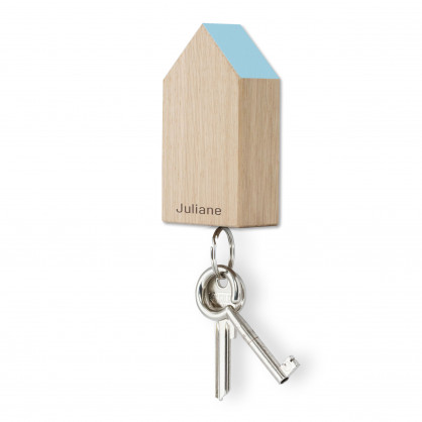 Schlüsselhaus magnetic, Eiche hellblau, personalisiert