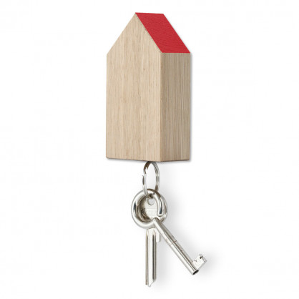 Schlüsselhaus magnetic aus Eichenholz mit rotem Dach - side by side Design