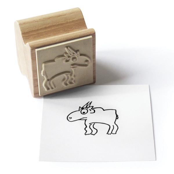 Holzstempel Happi Stamps mit Motiv Theo Tier aus Eschenholz von side by side.