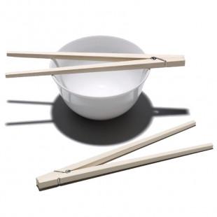 Chop-Pin Essstäbchen von side by side in Form und mit der Funktion einer Wäscheklammer.