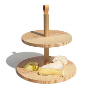 2-stöckige Etagere aus massivem Holz mit Trageschlaufe aus Leder von side by side Design