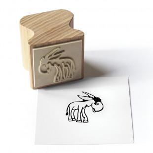 Holzstempel Happi Stamps mit Motiv Esel Emil aus Eschenholz von side by side.