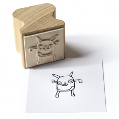Holzstempel Happi Stamps mit Motiv Little Monster aus Eschenholz von side by side.