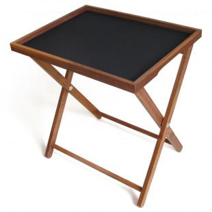 Tablett Basic L mit Rahmen aus Nussbaumholz und schwarzer Beschichtung von side by side - auf Untergestell.