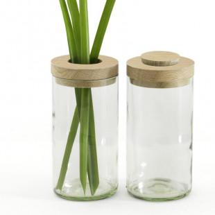 Vase & Dose aus klarem Glas und Eichendeckel von side by side.